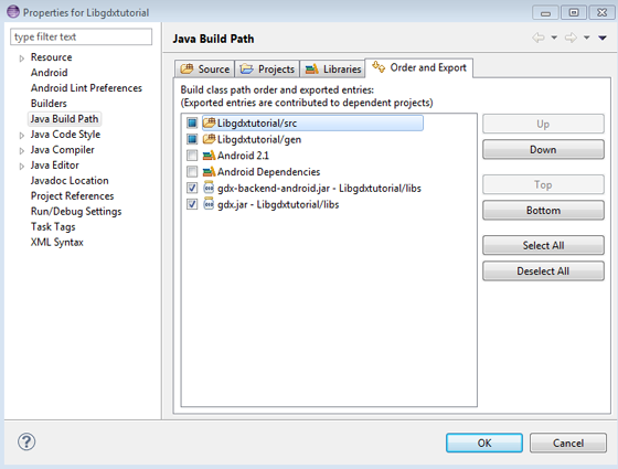 Java Build Path - Libraries - Order and Export