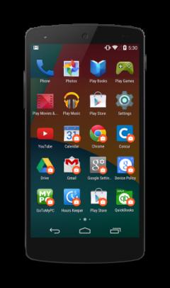 Launcher screen, показывающий регулировку приложениями (есть приложения помеченные как недоступные)
