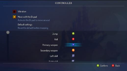Настройки управления контроллером на PC