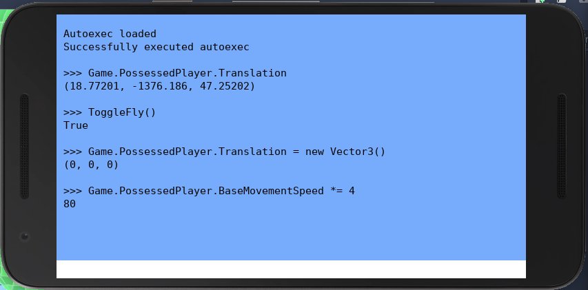 C# интерактивный shell из игры SkyOfSteel от ForLoveOfCats, работающий на Android эмуляторе.