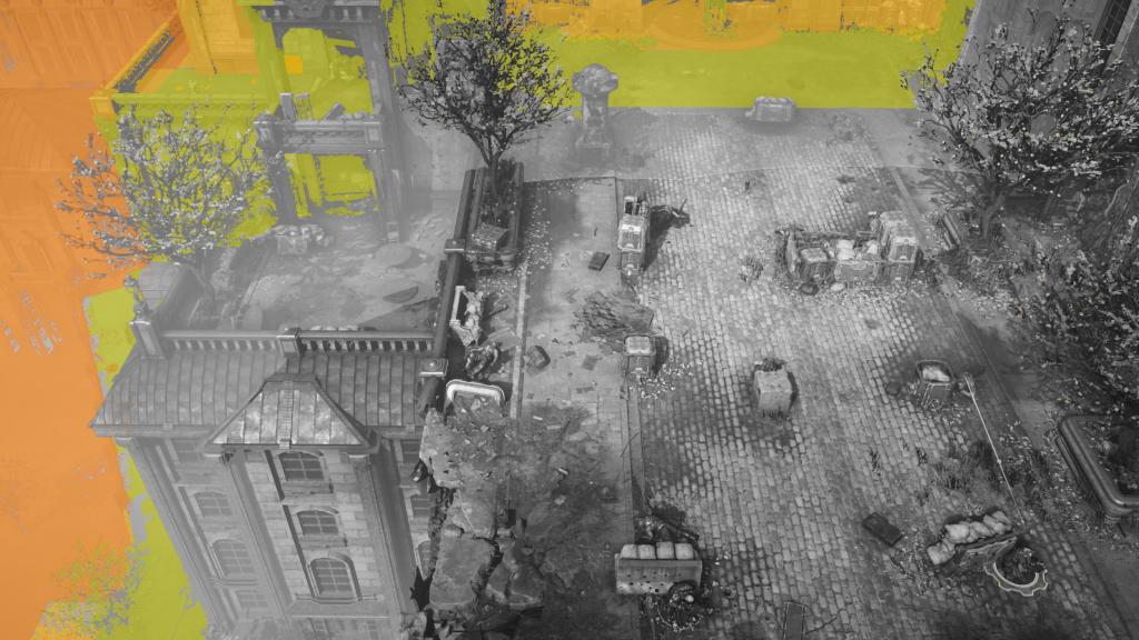 Визуализация VRS Tier 1 в Gears Tactics. Цветные области обозначают использование более грубых степеней шейдинга.
